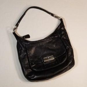 Coach black leather hobo purse bag